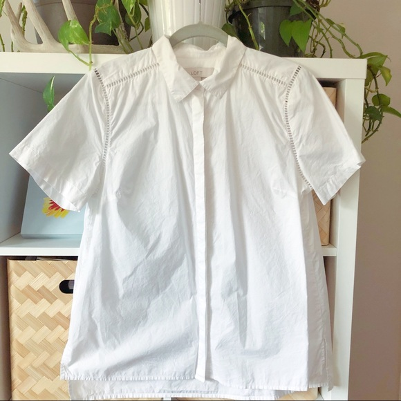 LOFT Tops - Loft Short Sleeve White Button Up